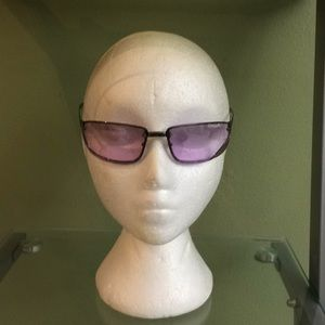 GUCCI SUNGLASSES SILVER FRAME PINK LENS  WITH CASE